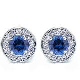 .70Ct Halo Real Diamond Genuine Round Blue Sapphire Studs 14K White Gold