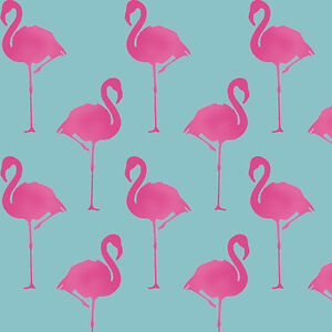 Flamingo stencil wallpaper effect decor paint reusable wall art ideal stencil - Flamant rose decoration ...