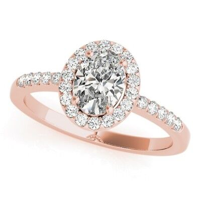 1.65 Ct Halo Oval Brilliant Cut Round Pave Diamond Engagement Ring GIA G,SI2 14K 3