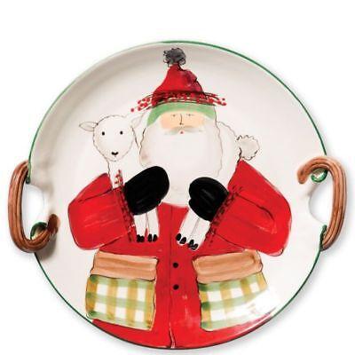 Vietri Old St Nick Handled Round Platter w/ Lamb