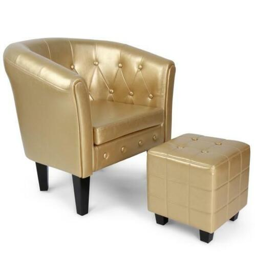 Chesterfield Fauteuils En Zetels.Chesterfield Fauteuil Inclusief Hocker Zetel Goud
