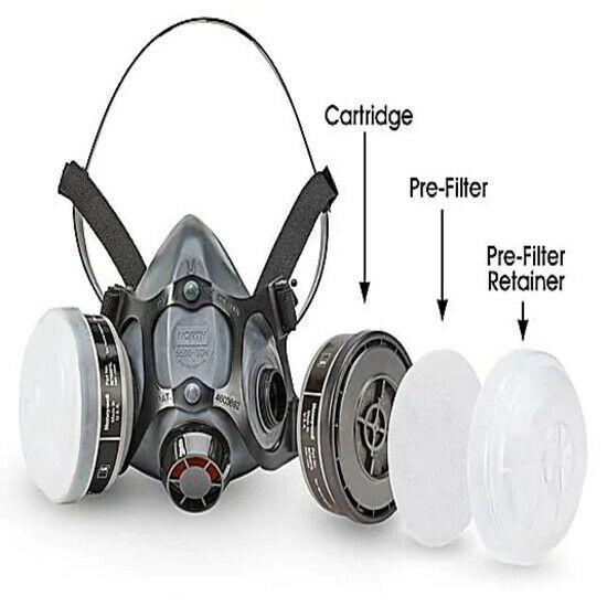 North, 7 IN 1, 5500 Series Reusable Respirator For Spraying & Painting, MEDIUM Business & Industrial