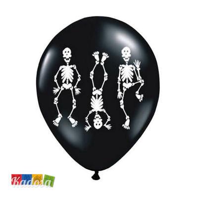 6 Palloncini Halloween GRANDI Biodegradabili Neri con Stampa SCHELETRI Ballerini