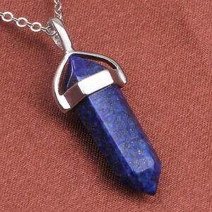 Silver Plated Gemstone Hexagon Prism Beads Healing Point Chakra Pendant Necklace