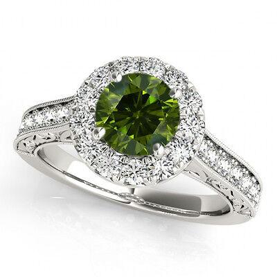 1 Carat Green Diamond Fancy Wedding Band Ring 14k White Gold Best Price on