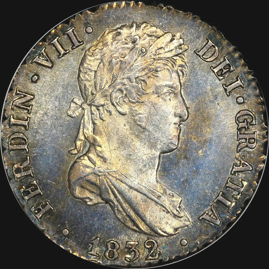 """1832 S-JB 1 REALE SPAIN NGC MS64 """"FINEST"""" & """"ONLY ONE GRADED"""" @ BOTH NGC & PCGS"""