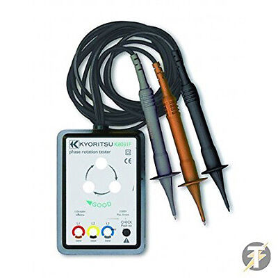 Kewtech Kew8031f 110 To 600 Volt Phase Rotation Tester W Leads And Croc Clips