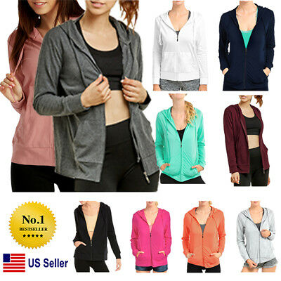 Womens Classic Active Basic Cotton Hoodie Jacket Sweatshirt Zip-Up Zipper 1X Women Basic Hoodie Jacket