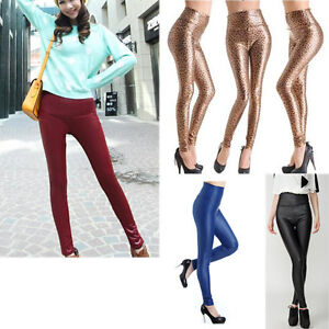 Women-Sexy-High-Waist-Leather-Look-Stretch-Leggings-Tights-Pants-S-L-12-Colors