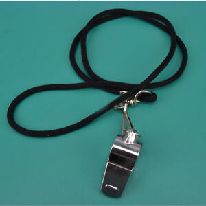 Football Soccer Sports Metal Referee Whistle Black Lanyard Emergency Survival