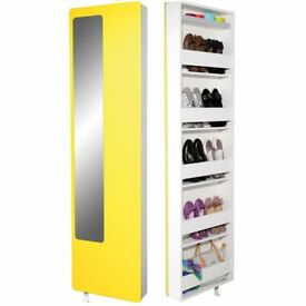 Spin Rotating Yellow Shoe Storage With Mirror