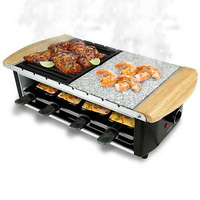 Raclette Grill, Two-Tier Party Cooktop, Stone Plate & Metal Grills