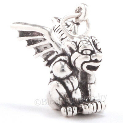 3D GARGOYLE 925 Sterling Silver HALLOWEEN Jewelry Pendant Charm Solid & detailed ()