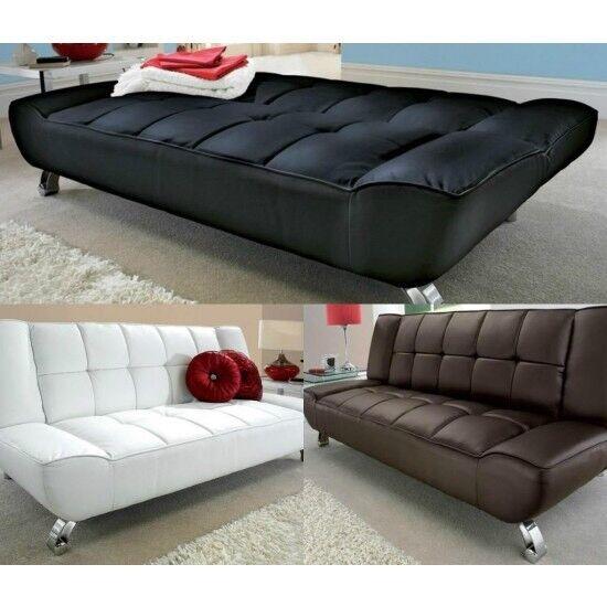 Leather sofa, sofa bed, 3 seater, chrome feet, modern design.