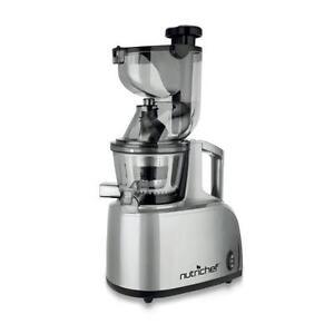 NutriChef PKSJ40 Countertop Masticating Slow Juicer Juice and Drink Maker, Steel