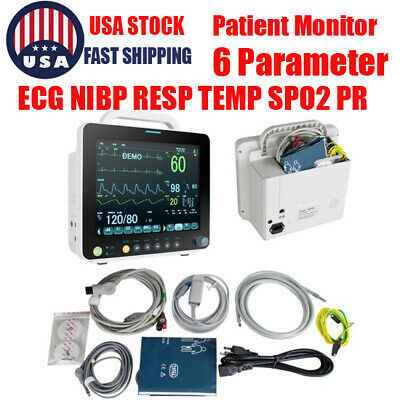 Portable Medical 6 Parameter 12 Vital Sign Patient Monitor Ecg Nibp Resp Spo2
