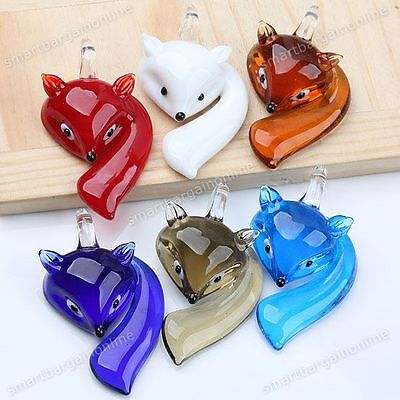 Lampwork Glass Pendant Necklace - Cute Lovely Fox Animal Lampwork Glass Charm Bead Pendant Jewelry For Necklace