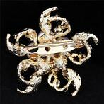 Vintage Silver Crystal Flower Pearl Wedding Bridal Brooch...