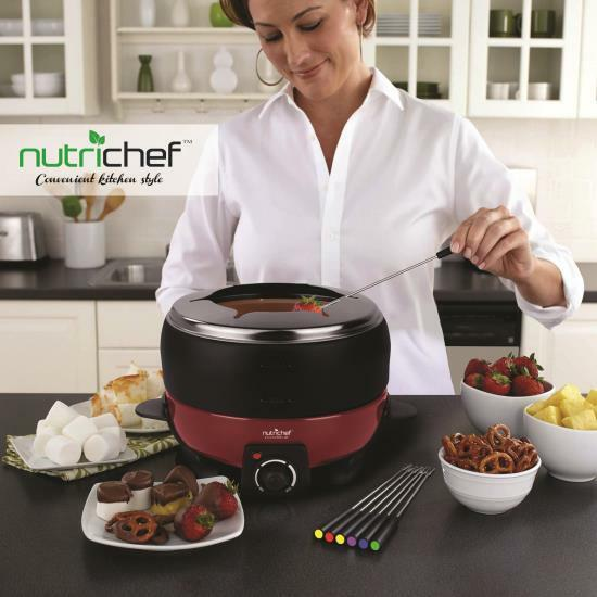 NutriChef Teflon Fondue Set Maker, Electric Melting Pot Cooker Cheese/Chocolate
