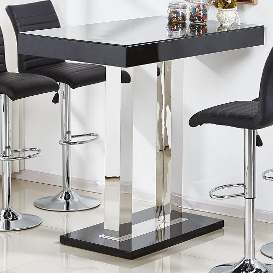 Caprice Gl Bar Table In Black High Gloss And Stainless Steel