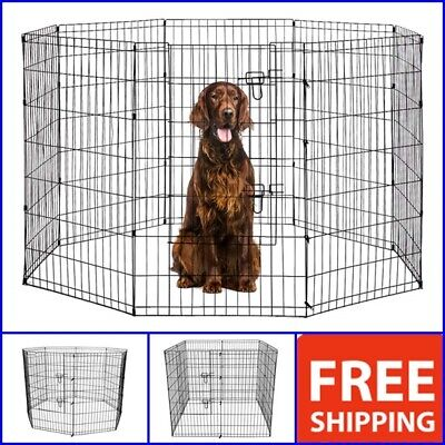 Dog Kennel Outdoor Pet Play Pen Cat Rabbit Cage 8 Panels Enclosure Heavy Duty 42 for sale  USA