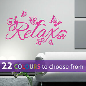 Relax And Butterflies Wall Sticker Art Decal Beauty Salon