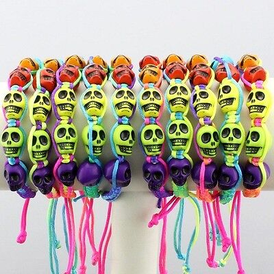 Lot 10pcs Mixed Colorful Skull Resin Handmade Bracelets on Rummage