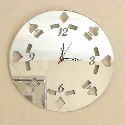 Poker Chip Clock - Acrylic Mirror (Several Sizes Available)