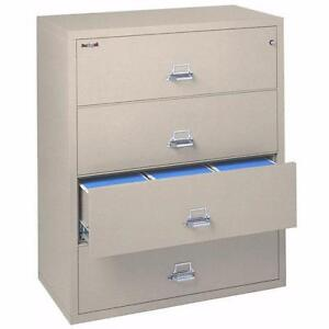 "FIREKING 4-Drawer 44"" Wide Lateral Filing Cabinet - 4-4422-CPLWG  - 1-Hour Fire Rating!"