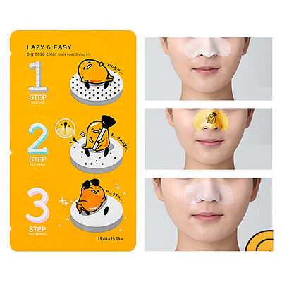 Holika Holika Gudetama Pig Nose Sheet Pack 5EA Sebum Clear Blackhead 3 Step Kit