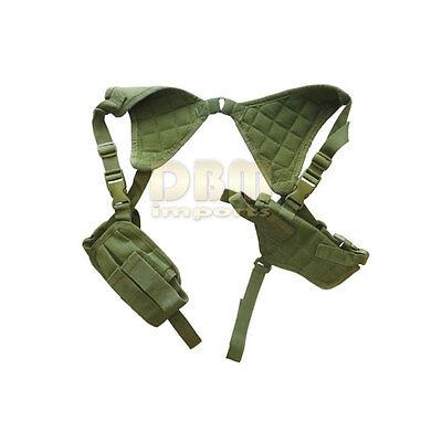 Tactical Cross Draw Shoulder Vest Pistol Gun Holster Mag Pouch OD GREEN