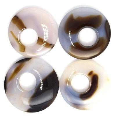 Grey Agate - 40-48mm grey brown agate gogo donut pendant gemstone