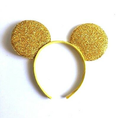 1PC YELLOW GOLD GLITTER MICKEY MOUSE EARS HEADBAND FITS MOST CHILDREN AND - Gold Glitter Headband