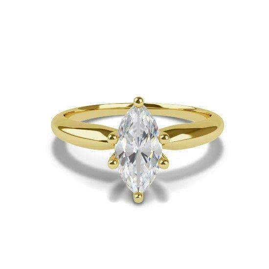 Diamond Ring Marquise Shape Lady 1.59 Carats 8 Prong Set 14 Kt Yellow Gold Si1