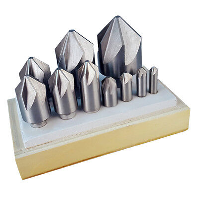 All Industrial 10520 10 Pc. 90 Degree Hss 6 Flute Countersink Set 14-1-12