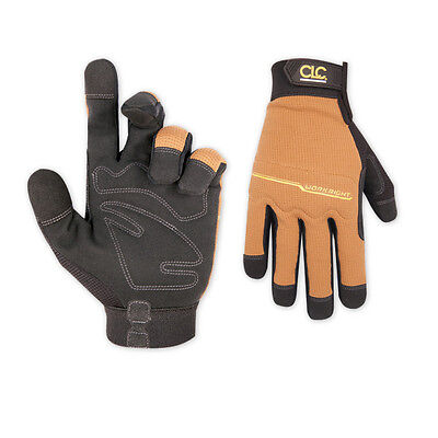 Custom Leathercraft 124L 2 Pack Workright Flex Grip Work Large Glove, Tan/Black - Glove Tan Large Pack