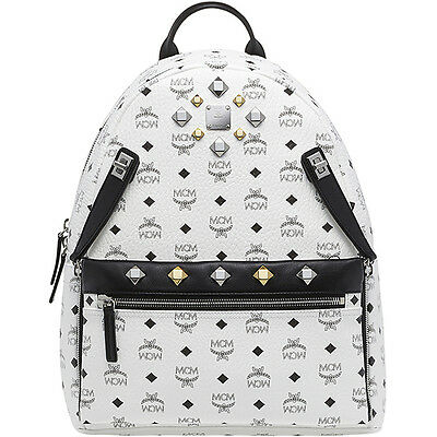 MCM Medium Backpack Dual Stark MMK6SVE79WT White Coated Canvas + Cowhide