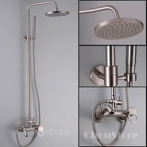 Brushed Nickel Bathroom Rain Shower Faucet Set B117