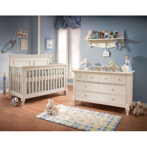 Convertible baby crib and double desk