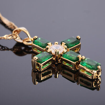 (Xmas Gift Cross Pendant Green Emerald Yellow Gold Plated Pendant Necklace 18