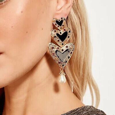 - New Trendy Women Rhinestone Gold 3 Love Heart Dangle Drop Earrings Jewelry Gifts