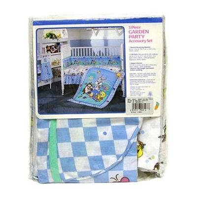 3pc Crib Bedding Set Blanket Crib Skirt Diaper Stacker Baby Looney Tunes GardenP