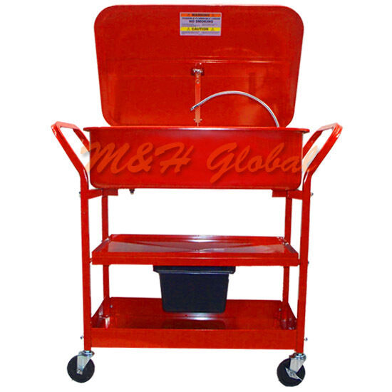 20 Gallon Mobile Parts Washer Cart Drying Shelves Electric Pump