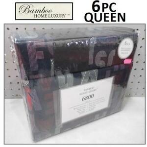 NEW BAMBOO 6PC BED SHEET SET QUEEN HA-1118Q 225040179 HOME LUXURY 6800 SERIES DEEP POCKET WRINKLE FREE BEDDING BEDROOM