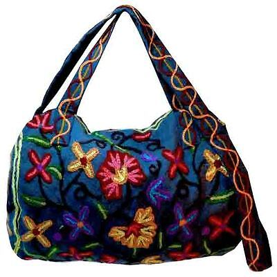 Embroidered Hand Made Wool Round Mini Duffle -