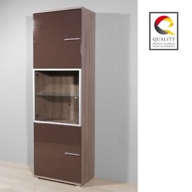 Boston Tall Entertainment Cabinet In Gloss Brown