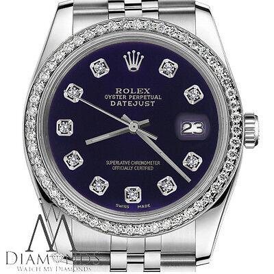 Datejust Rolex 26mm Purple Face with Diamond Numbers & Bezel SS Women's Watch