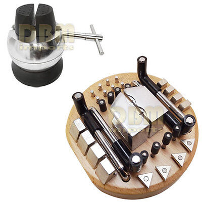 """Jeweler 34 PC Attachments 5"""" Inch Engraving Block Ball Vise Key Setting Jewelry"""