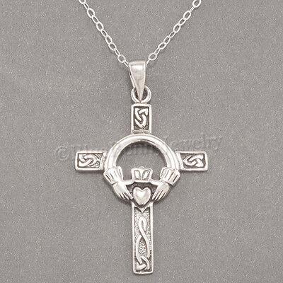 CELTIC CROSS Necklace Irish Charm Pendant Claddagh STERLING SILVER 18