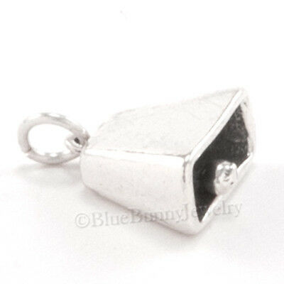 COW BELL Charm Western cowbell Bracelet charm Pendant STERLING SILVER 3D 925
